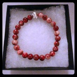 Jewelry - Burgundy & Red Jade Stone Bracelet